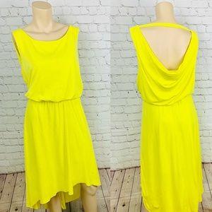 VINCE CAMUTO Yellow Hi Lo Dress w Open Draped Back